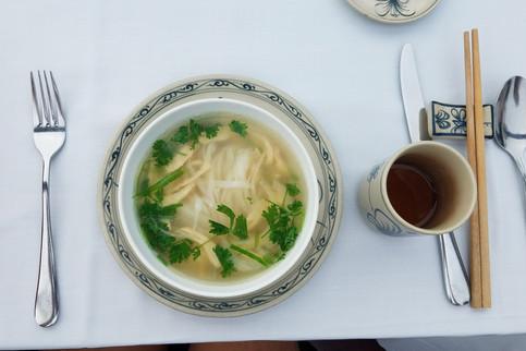Breakfast on deck: chicken noodle soup