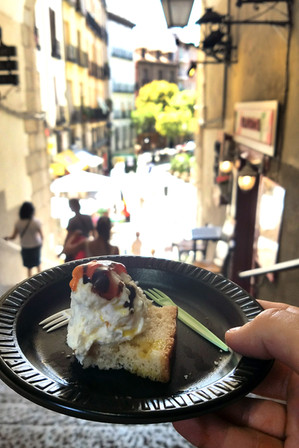 We took our snacks to Madrid's shortest street, which is really a staircase.