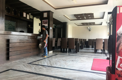 The lobby of our hotel in Lumbini. I'm pretty sure we were the only guests.
