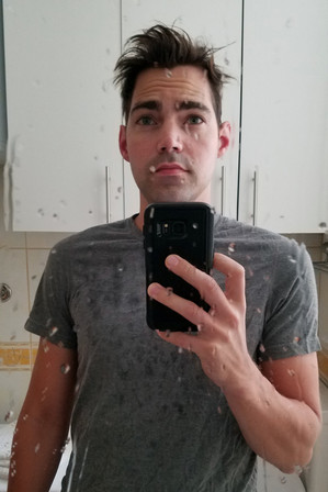 Brandon's bathroom selfie at the Airbnb.