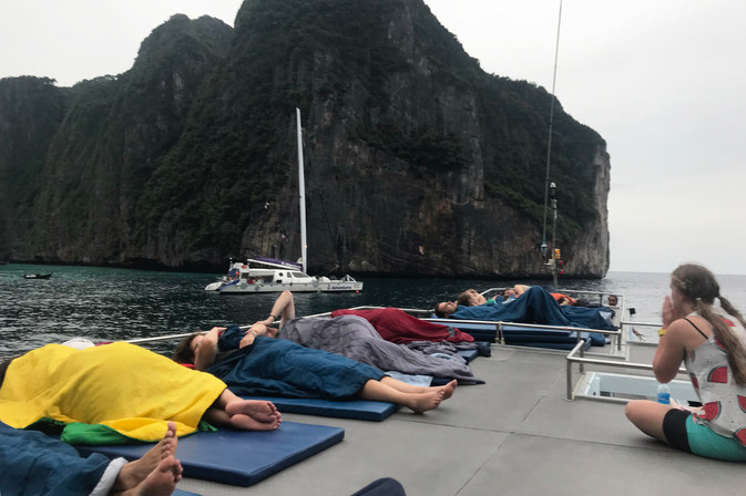 The view from our mats when we woke up on top of the boat