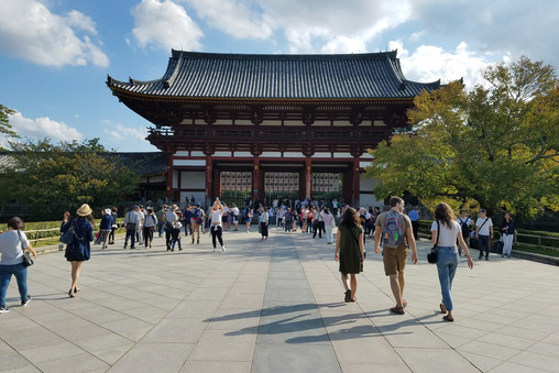 Tōdai-ji Temple, one of the largest wooden structures in the world. It also houses the world's largest bronze statue of the Buddha.