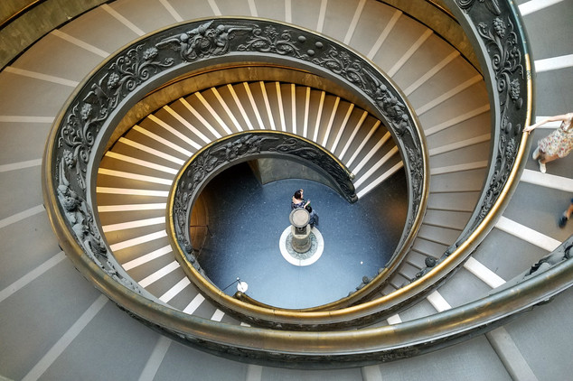 The spiral staircase at the Vatican Museum