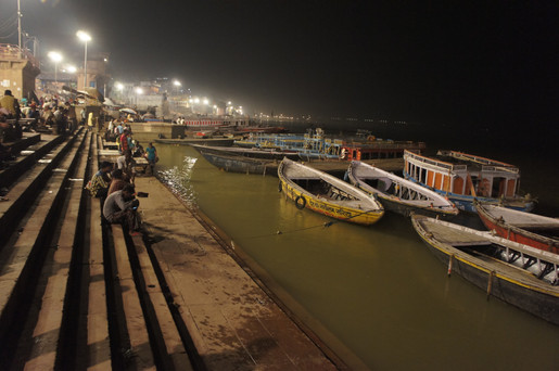 Varanasi sits along the Ganges, and 88 ghats (sets of steps) lead down to the riverbank. Most are used for bathing or religious ceremonies, but two near the end are reserved for cremation.