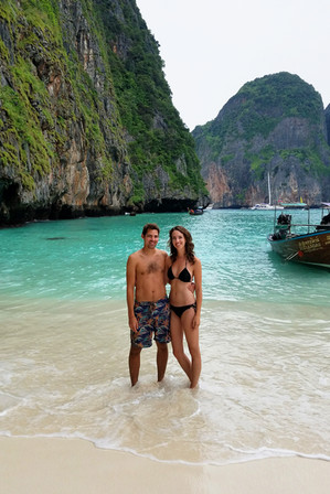 The point of an overnight tour is to get to Maya Beach early the next morning, before the rest of the tour boats arrived. It's really beautiful, with the softest sand I've ever felt.