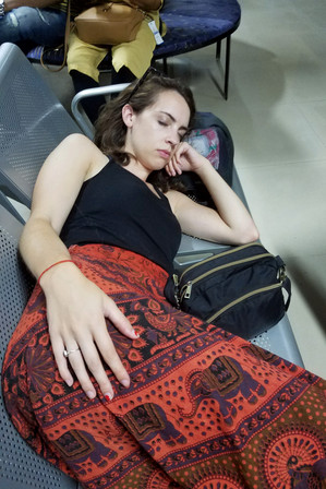 Napping at the Lumbini airport