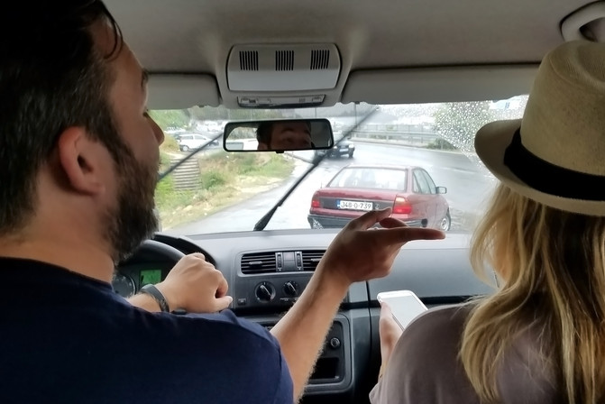 """Greg driving while Elise navigates. Brandon later used her as an example when he needed help driving somewhere: """"be more like Elise!"""" She was very calm."""