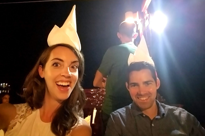 Napkin hats. You can't take us anywhere.
