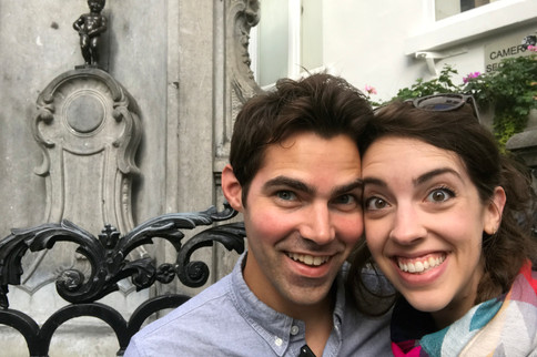 """Brandon was so excited to see Mannekin Pis! I talked it up as one of the coolest things ever. (A few years ago it was rated """"Europe's most disappointing tourist attraction."""""""