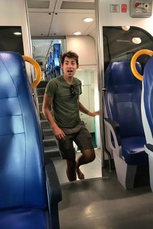 Barefoot Brandon on the train