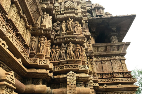 Khajuraho is known for its more erotic Kama Sutra carvings, but most of the folks depicted were just scantily clad dancers.