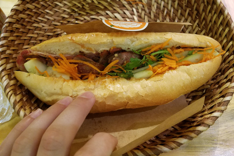 Bahn mi is a reminder of French colonialism with its mashup of Vietnamese flavors (pork, cilantro, other delicious stuff) and French bread, which always seems to be really fresh.