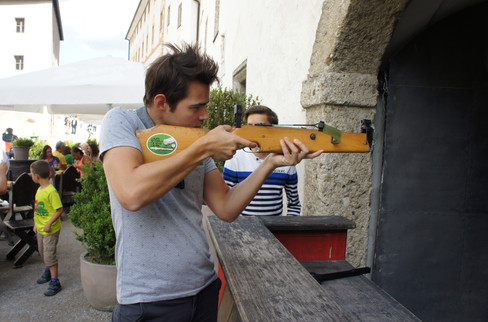 We tried our hand at a crossbow game