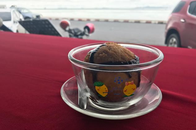 Fried ice cream overlooking the ocean