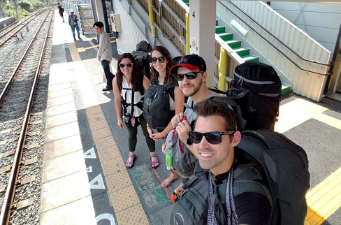Using our selfie stick on the platform