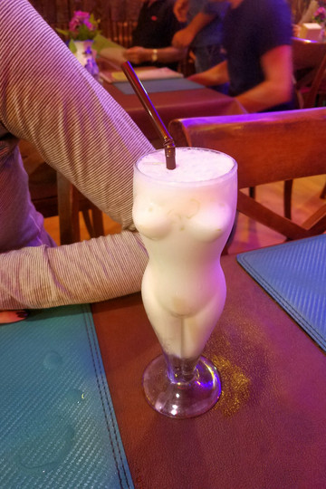I just had to take a photo of this glass! This piña colada was really bad, though. Touristy areas are more hit-or-miss in terms of food.