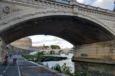 Walking along the Tiber River