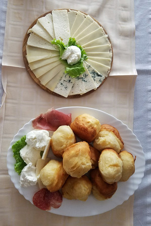 We ordered way too much food, which turned out to be a theme in Bosnia since it's relatively cheap. This is cheese and fried bread.