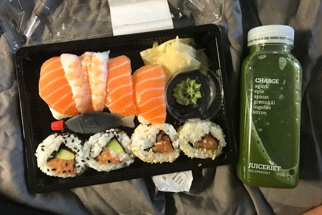 Sushi and juice from 7-11. We'd been eating mostly peanut butter and ramen for days, so this was a major treat.