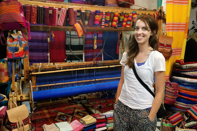 Karim showed us his father's shop, where they make things on this big loom.
