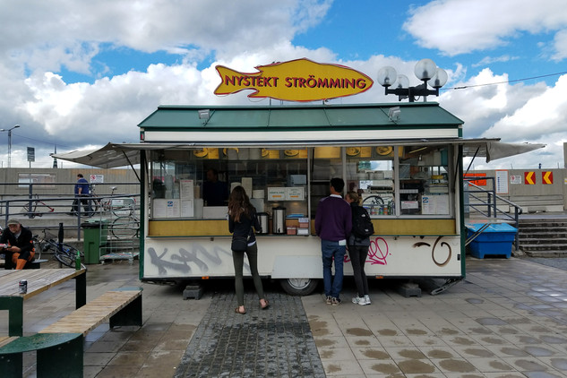 A fried herring stand