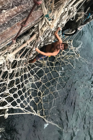 We found some fun nets to climb on.