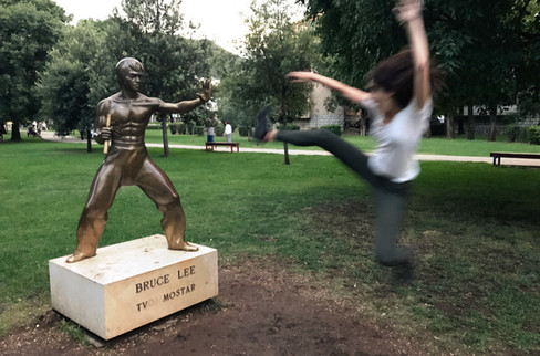 """There is a statue of Bruce Lee in Mostar because, according to our Airbnb host, """"There are many different people in Bosnia, but everybody watches Bruce Lee so it brings us together."""""""