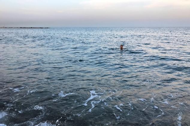 Brandon went for a swim