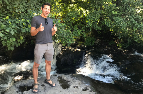 Our host told us about a waterfall we could hike to nearby. We eagerly set off with water bottles, only to find the waterfall immediately off the parking lot.
