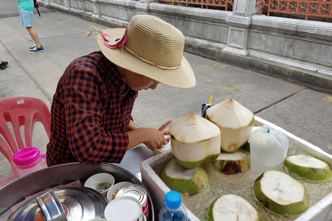 On our way to visit one of the temples, we got distracted by this coconut ice cream cart.