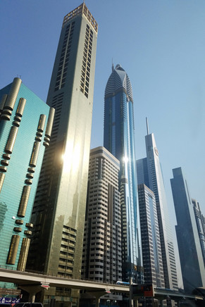 Skyscrapers in the desert sun