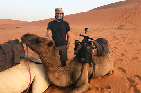 In order for you to get off a camel, it has to first kneel forward and then backward into this position. It feels like you're getting catapulted off every time.