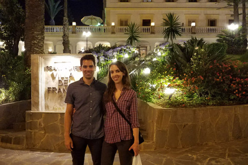 We went to Le Royal Grand Hotel Villa de France to check it out — it seemed deserted, but the security guard offered to take our photo.