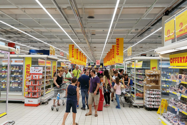 We stopped at a grocery store before going to our Airbnb in Sorrento. It was like an Italian Walmart on tax-free weekend.