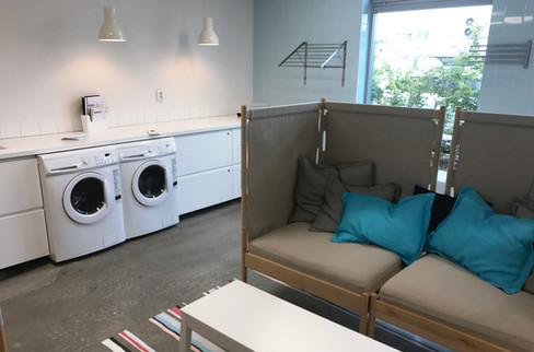 The hotel laundry room, which we put to use right away