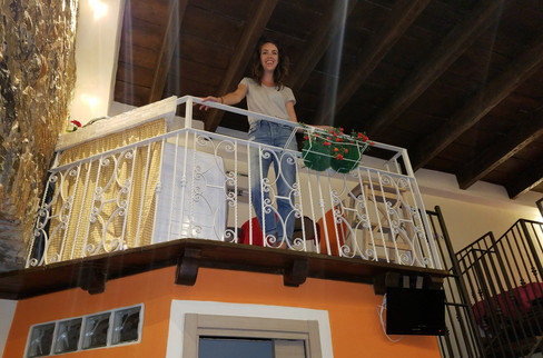 We had a bizarre apartment —no kitchen, but there was an indoor balcony.