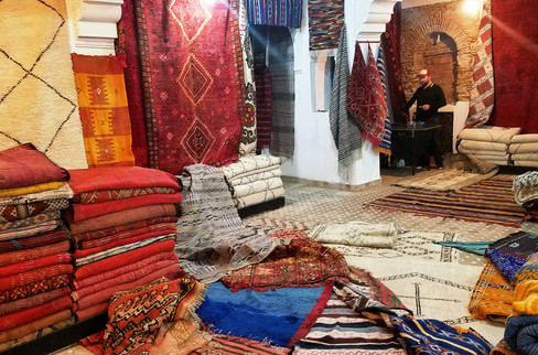 We wandered into a rug store, where we were offered mint tea by a guy named Karim. He gestured for us to sit, asked us about our trip, and within half an hour had planned the rest of our journey in Morocco. Unfortunately I didn't really get to look at the rugs.
