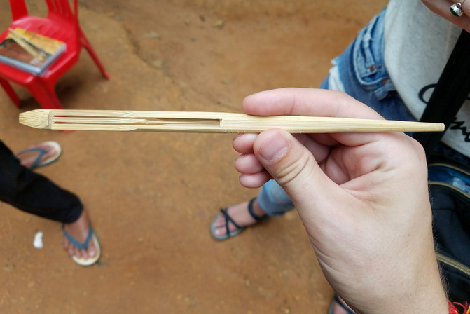 We bought three of these twangy bamboo instruments from some guys outside one of the temples.