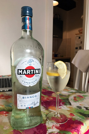 Our new favorite summer drink: martini bianco with lemon