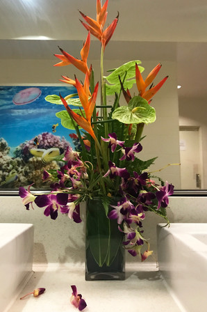 Real flowers in the airport bathroom