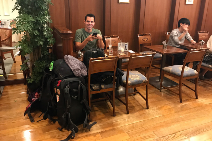 We had to leave our Airbnb before we knew where we were going next, so we took our bags to a coffee shop to figure it out.