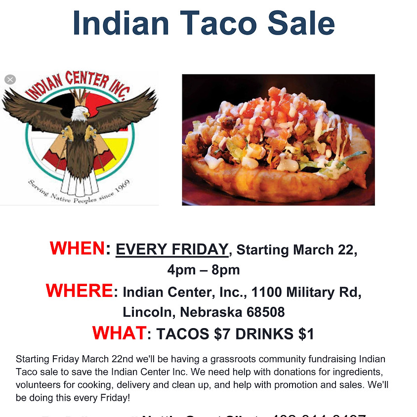 """Frybread Fridays"" Indian Taco Sale"