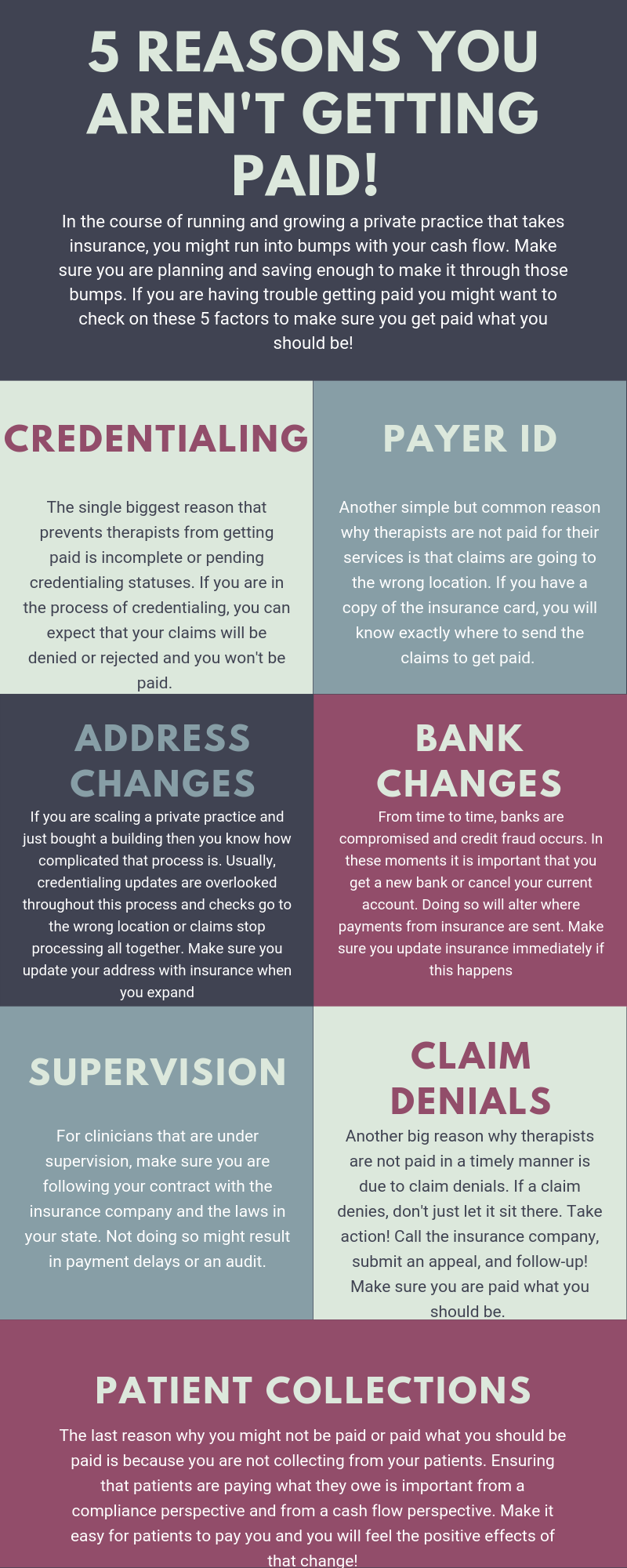Mental health billing is complicated enough. But with this infographic, you can make sure that you are getting paid from all your insurance billing and claims. A mental health billing service can be a great way for you to save time and actually make more money in private practice