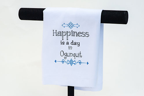 Happiness is a Day in Ogunquit Dish Towel
