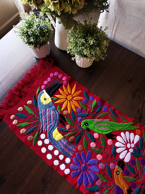mexican toucans and flowers, table runner red, mexican textile, mexican crewel embroidery, mexican table runner, mexican hand