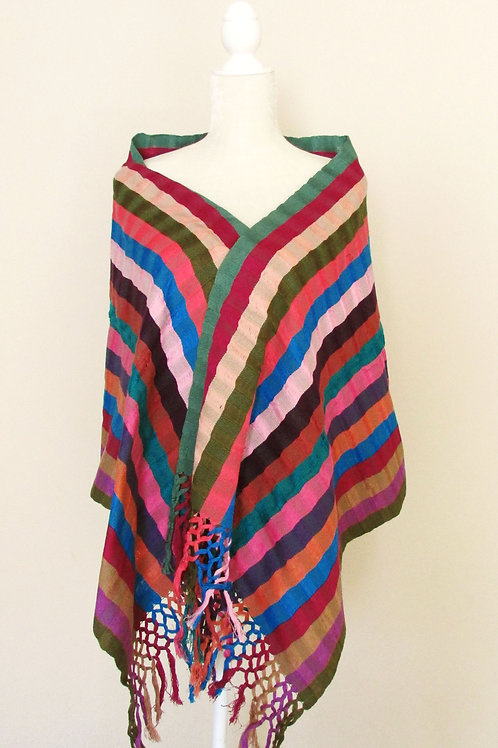 Mexican Rebozo or Shawl multicolor, hand-woven.