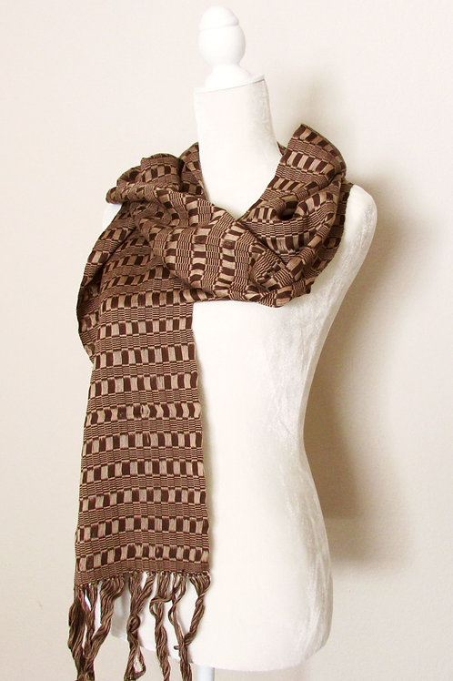 scarf two tones brown, chiapas, hand woven, mexican fabric, mexican embroidery.