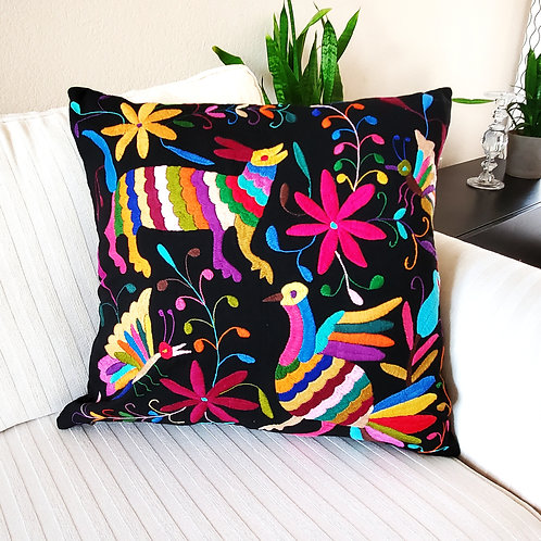 Otomi multicolor embroidered pillow, Otomi pillow cover, otomi fabric, mexican pillow, mexican embroidered,