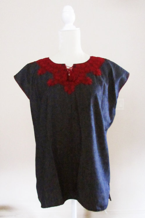 blouse jeans red, chiapas fabric, mexican fabric, mexican crewel embroidery, blouse handmade, mexican blouse, chiapas textile
