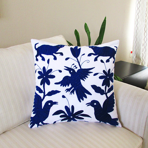 pillow cover, mexican fabric, mexican pillow, pillow blue on white, mexican embroidery, otomi pillow